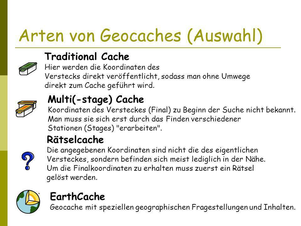 Arten von Geocaches (Auswahl) Traditional Cache Hier werden die Koordinaten des Verstecks direkt veröffentlicht, sodass man ohne Umwege direkt zum Cache geführt wird.