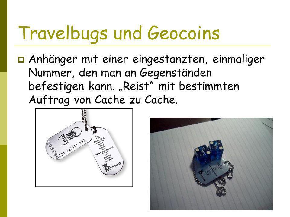 Travelbugs und Geocoins Anhänger mit einer eingestanzten, einmaliger Nummer, den man an Gegenständen befestigen kann.