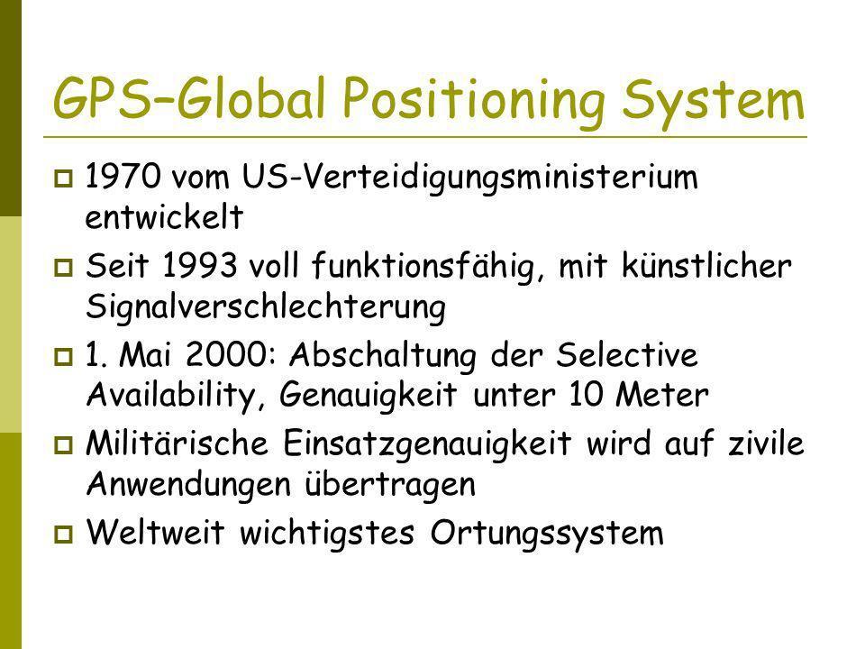 GPS–Global Positioning System 1970 vom US-Verteidigungsministerium entwickelt Seit 1993 voll funktionsfähig, mit künstlicher Signalverschlechterung 1.