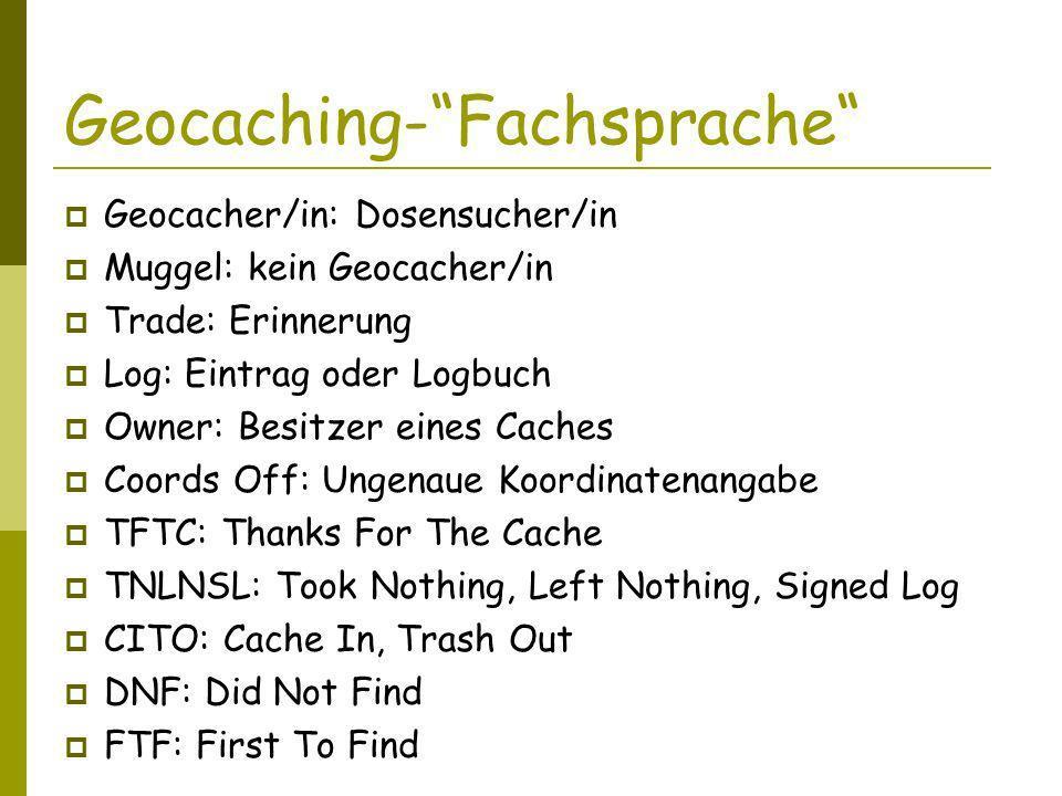 Geocaching-Fachsprache Geocacher/in: Dosensucher/in Muggel: kein Geocacher/in Trade: Erinnerung Log: Eintrag oder Logbuch Owner: Besitzer eines Caches Coords Off: Ungenaue Koordinatenangabe TFTC: Thanks For The Cache TNLNSL: Took Nothing, Left Nothing, Signed Log CITO: Cache In, Trash Out DNF: Did Not Find FTF: First To Find