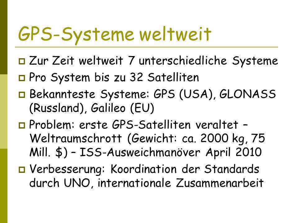 Einschränkungen GPS-Empfang Voraussetzung: Sichtverbindung zu Satelliten Kein Empfang: in Gebäuden, unter Brücken etc.