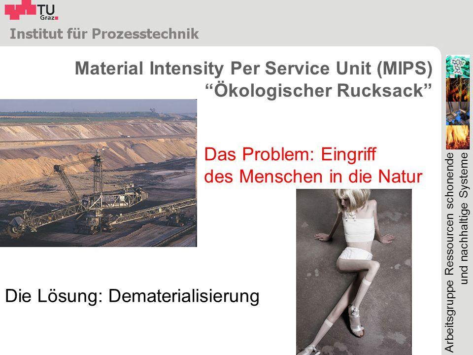 Arbeitsgruppe Ressourcen schonende und nachhaltige Systeme Material Intensity Per Service Unit (MIPS) Ökologischer Rucksack Das Problem: Eingriff des Menschen in die Natur Die Lösung: Dematerialisierung