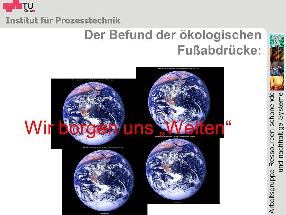 Arbeitsgruppe Ressourcen schonende und nachhaltige Systeme Der Befund der ökologischen Fußabdrücke: Wir borgen uns Welten