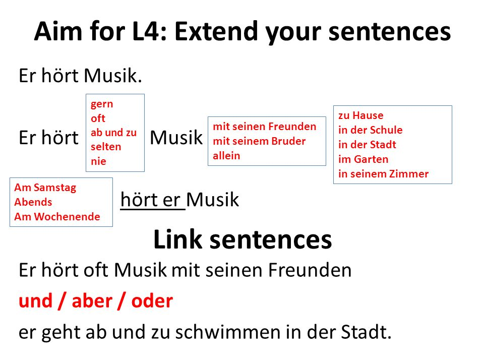 Aim for L4: Extend your sentences Er hört Musik.