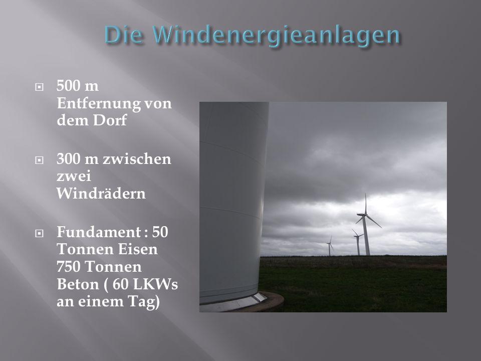 500 m Entfernung von dem Dorf 300 m zwischen zwei Windrädern Fundament : 50 Tonnen Eisen 750 Tonnen Beton ( 60 LKWs an einem Tag)
