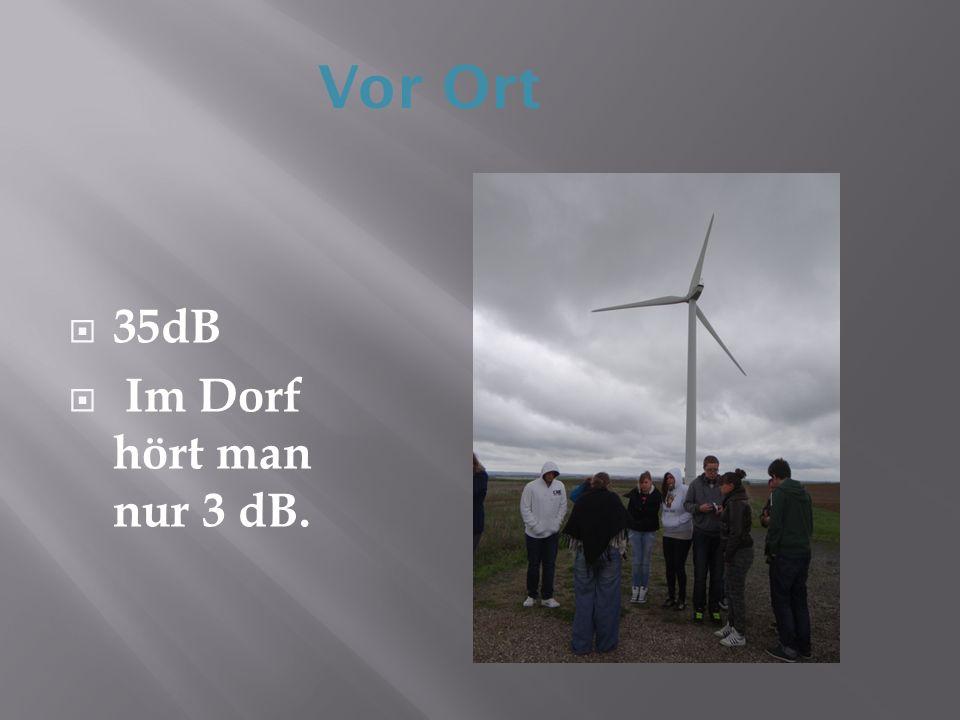 35dB Im Dorf hört man nur 3 dB. Vor Ort