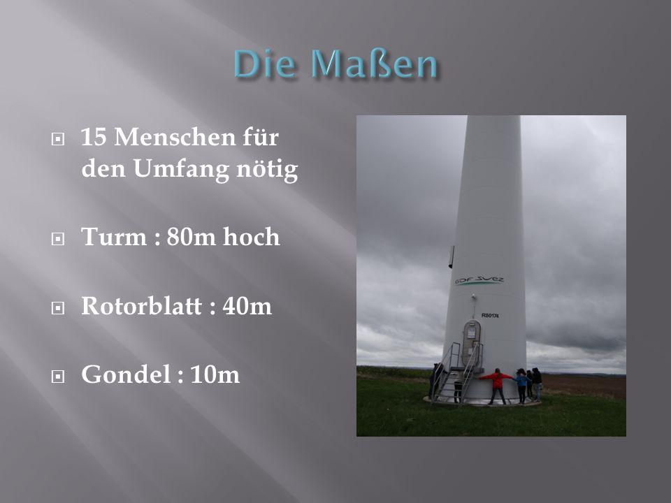 15 Menschen für den Umfang nötig Turm : 80m hoch Rotorblatt : 40m Gondel : 10m