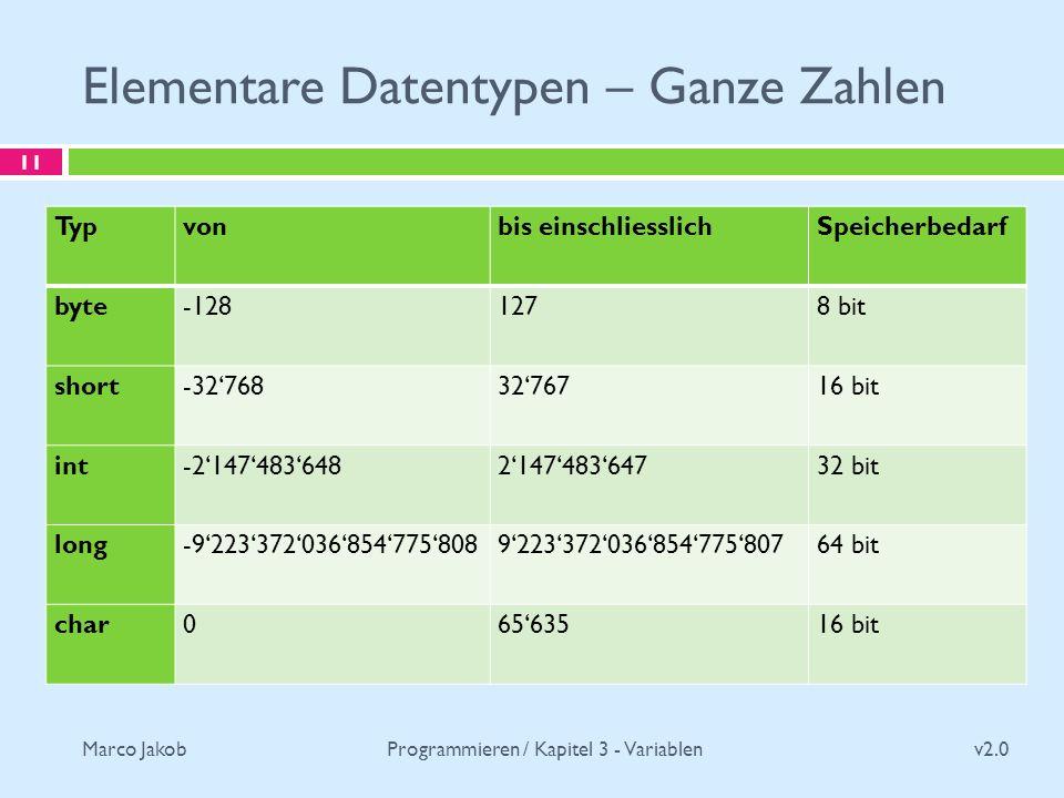 Marco Jakob Elementare Datentypen – Ganze Zahlen v2.0 Programmieren / Kapitel 3 - Variablen 11 Typvonbis einschliesslichSpeicherbedarf byte-1281278 bit short-327683276716 bit int-2147483648214748364732 bit long-9223372036854775808922337203685477580764 bit char06563516 bit