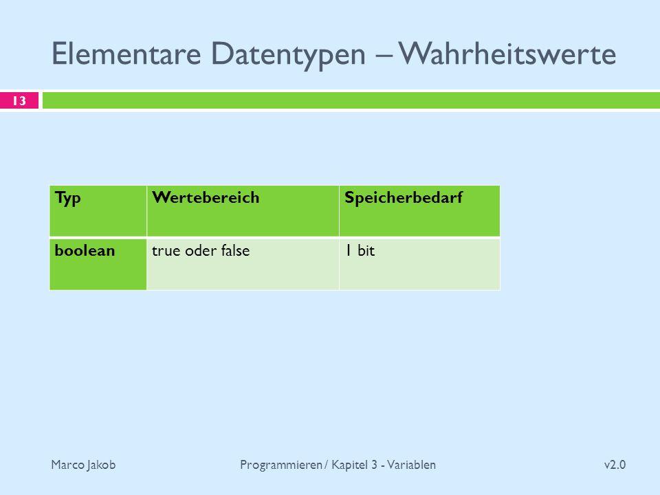 Marco Jakob Elementare Datentypen – Wahrheitswerte v2.0 Programmieren / Kapitel 3 - Variablen 13 TypWertebereichSpeicherbedarf booleantrue oder false1 bit