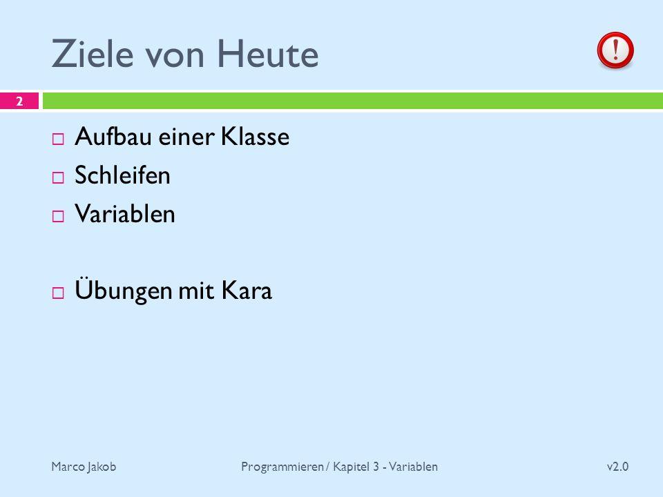 Marco Jakob Ziele von Heute v2.0 Programmieren / Kapitel 3 - Variablen 2 Aufbau einer Klasse Schleifen Variablen Übungen mit Kara