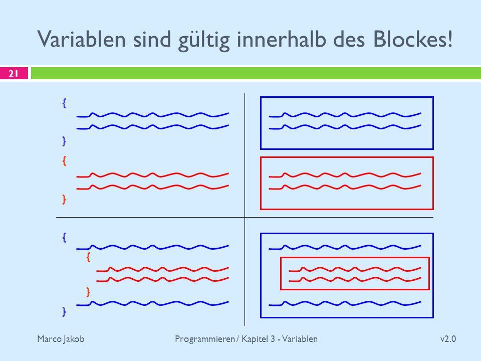 Marco Jakob Variablen sind gültig innerhalb des Blockes.