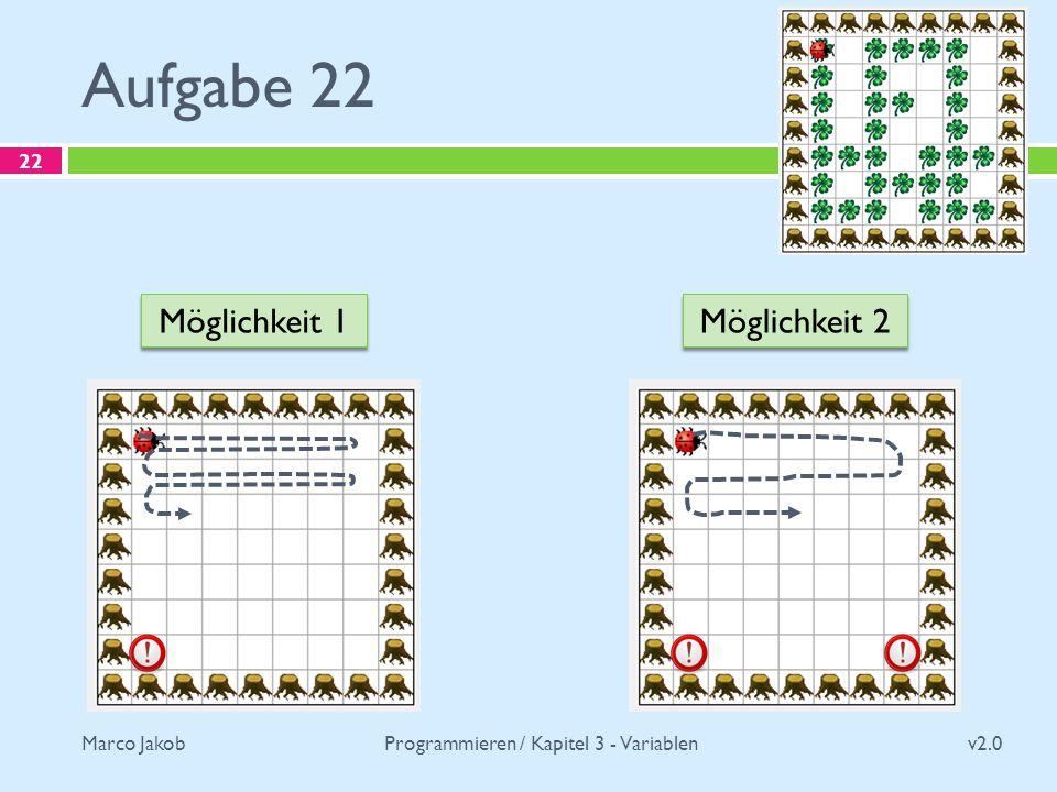 Marco Jakob Aufgabe 22 v2.0 Programmieren / Kapitel 3 - Variablen 22 Möglichkeit 1 Möglichkeit 2