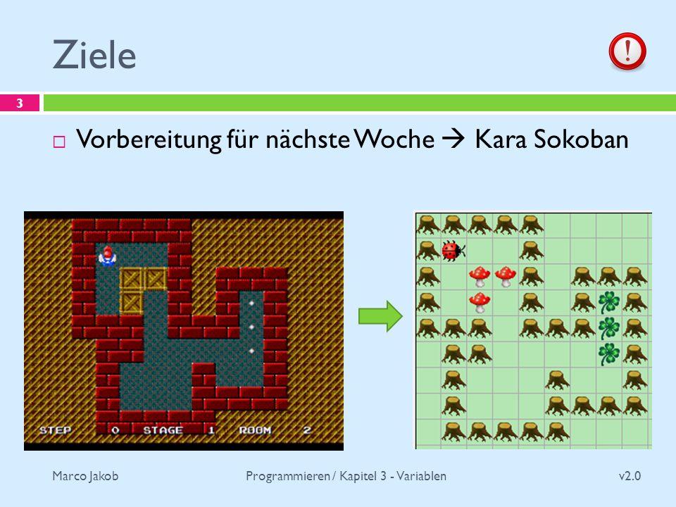 Marco Jakob Ziele v2.0 Programmieren / Kapitel 3 - Variablen 3 Vorbereitung für nächste Woche Kara Sokoban