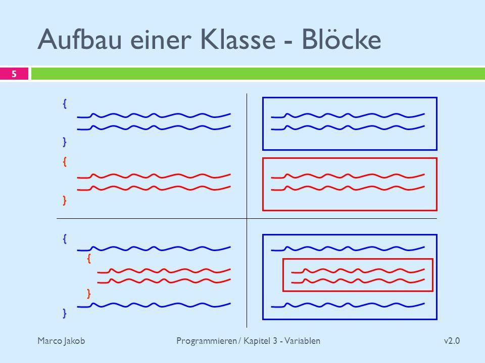 Marco Jakob Aufbau einer Klasse - Blöcke v2.0 Programmieren / Kapitel 3 - Variablen 5 { } { } { }
