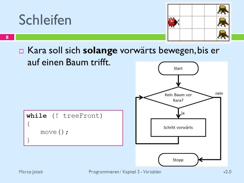 Marco Jakob Schleifen v2.0 Programmieren / Kapitel 3 - Variablen 8 Kara soll sich solange vorwärts bewegen, bis er auf einen Baum trifft.