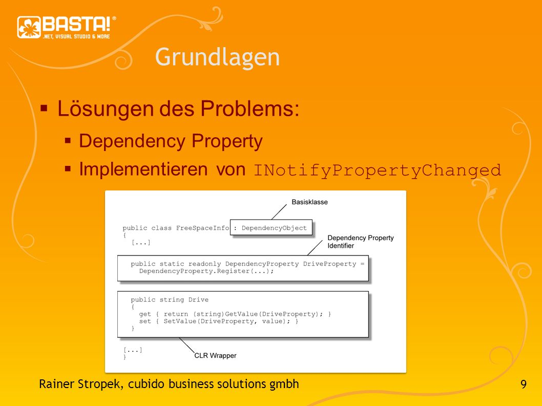 9 Grundlagen Lösungen des Problems: Dependency Property Implementieren von INotifyPropertyChanged Rainer Stropek, cubido business solutions gmbh