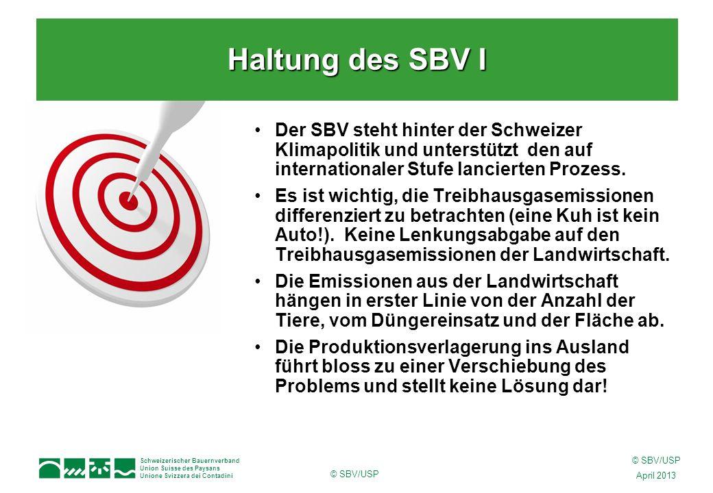 Schweizerischer Bauernverband Union Suisse des Paysans Unione Svizzera dei Contadini © SBV/USP April 2013 © SBV/USP Der SBV steht hinter der Schweizer Klimapolitik und unterstützt den auf internationaler Stufe lancierten Prozess.