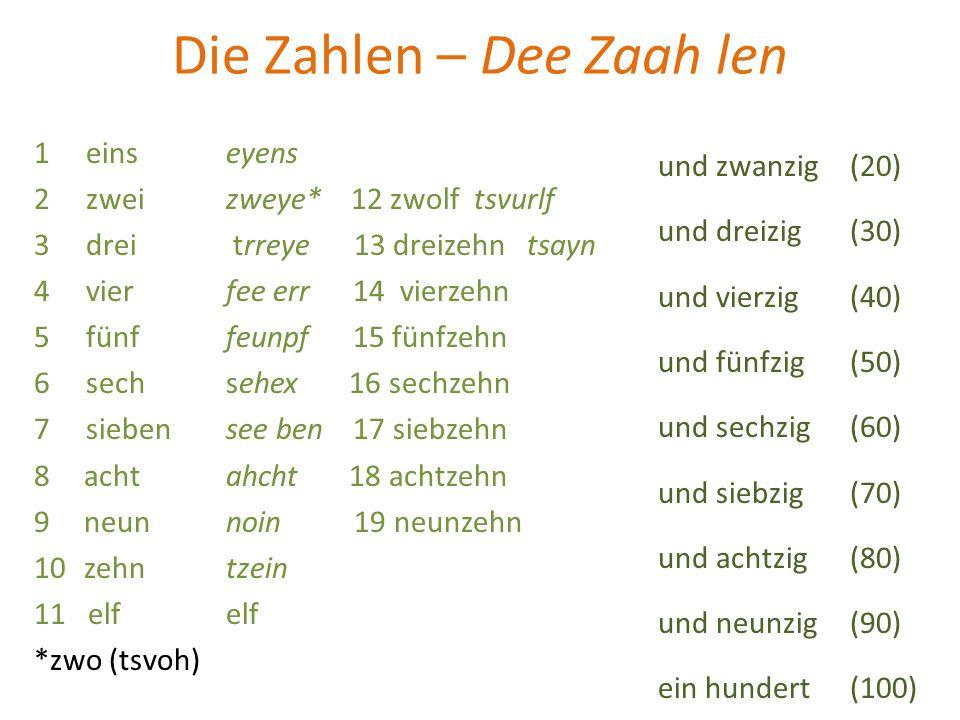 Die Zahlen – Dee Zaah len 1 einseyens 2 zweizweye* 12 zwolf tsvurlf 3 drei trreye 13 dreizehn tsayn 4 vier fee err 14 vierzehn 5 fünf feunpf 15 fünfze