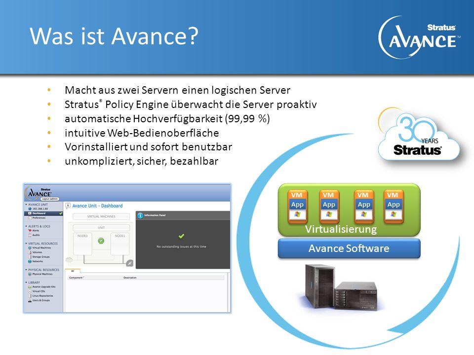 Was ist Avance? Macht aus zwei Servern einen logischen Server Stratus ® Policy Engine überwacht die Server proaktiv automatische Hochverfügbarkeit (99