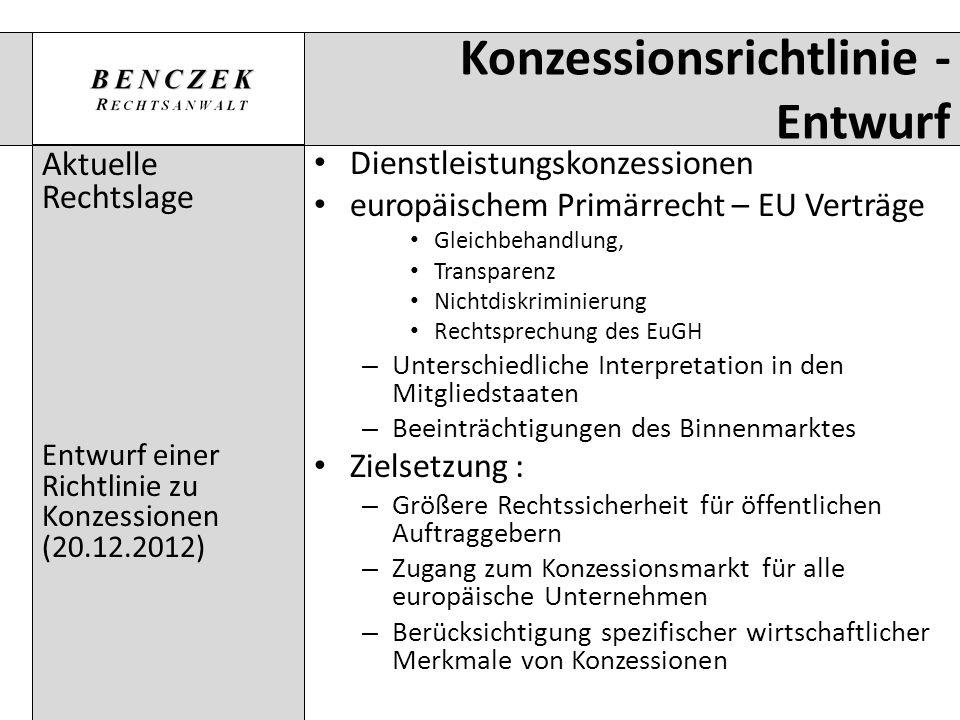 Konzessionsrichtlinie - Entwurf Aktuelle Rechtslage Entwurf einer Richtlinie zu Konzessionen (20.12.2012) Dienstleistungskonzessionen europäischem Pri