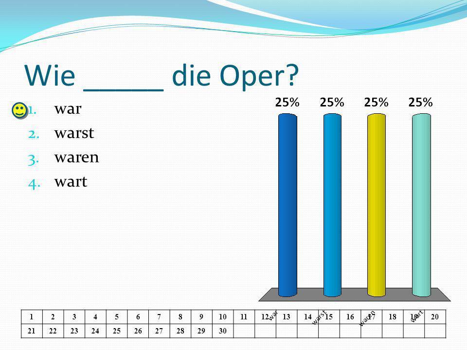 Wie _____ die Oper. 1. war 2. warst 3. waren 4.