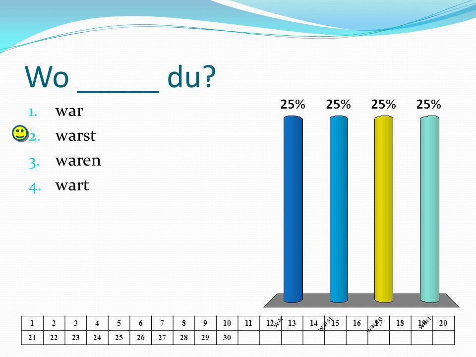 Ich ____ in Regensburg.1. war 2. warst 3. waren 4.