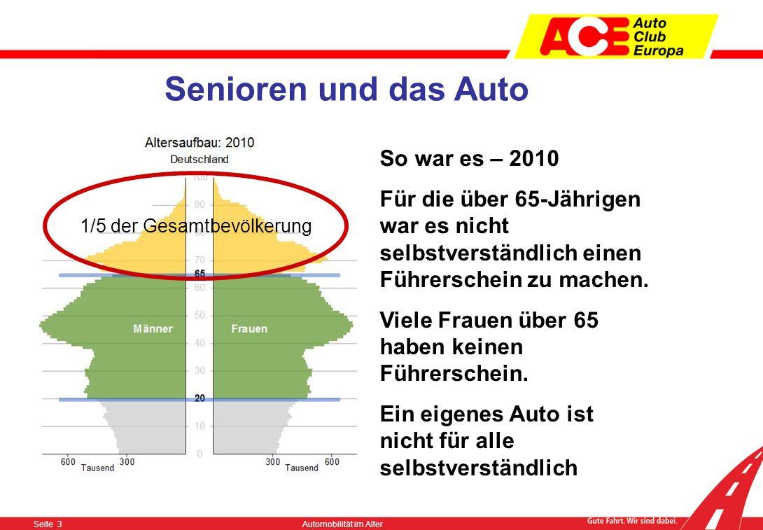 Seite 3Automobilität im Alter Senioren und das Auto So war es – 2010 Für die über 65-Jährigen war es nicht selbstverständlich einen Führerschein zu machen.