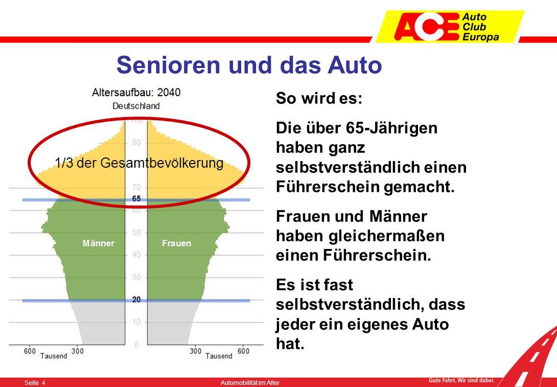 Seite 3Automobilität im Alter Senioren und das Auto So war es – 2010 Für die über 65-Jährigen war es nicht selbstverständlich einen Führerschein zu ma