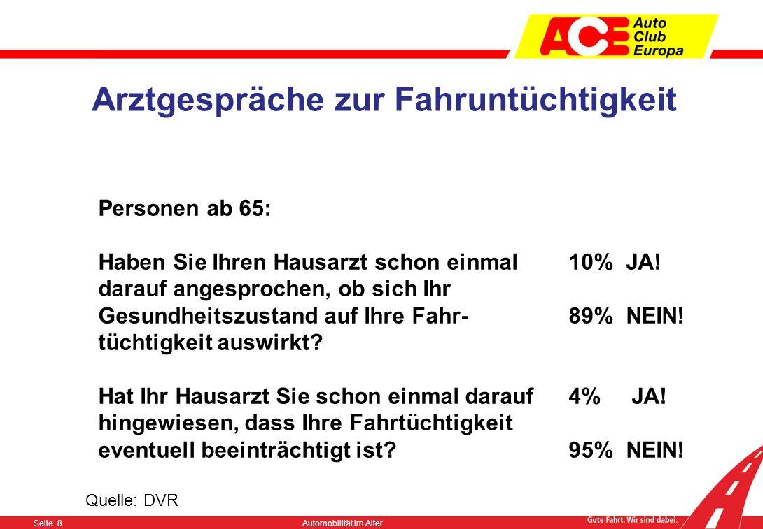 Seite 7Automobilität im Alter Quelle: DVR Freiwillige Führerscheinabgabe die Gründe: Personen ab 65: 82%wenn sie selber merken würden, dass sie ihr Fa