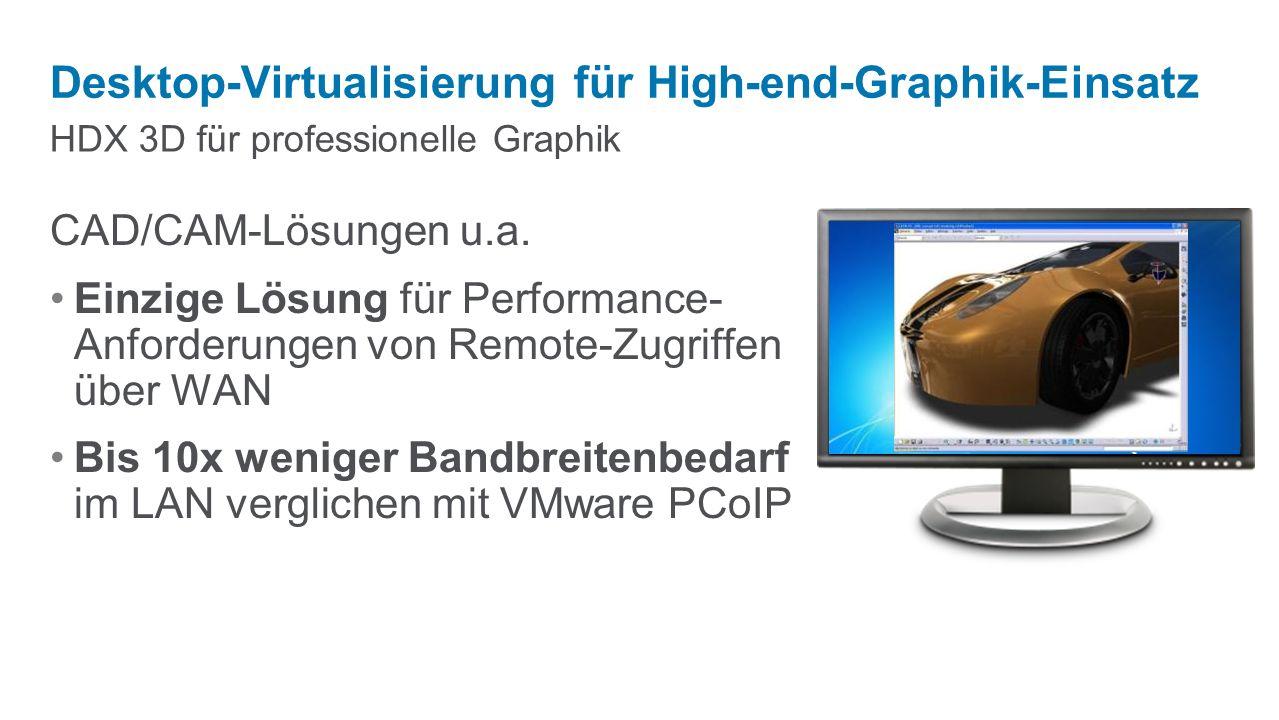 HDX 3D für professionelle Graphik Desktop-Virtualisierung für High-end-Graphik-Einsatz CAD/CAM-Lösungen u.a.