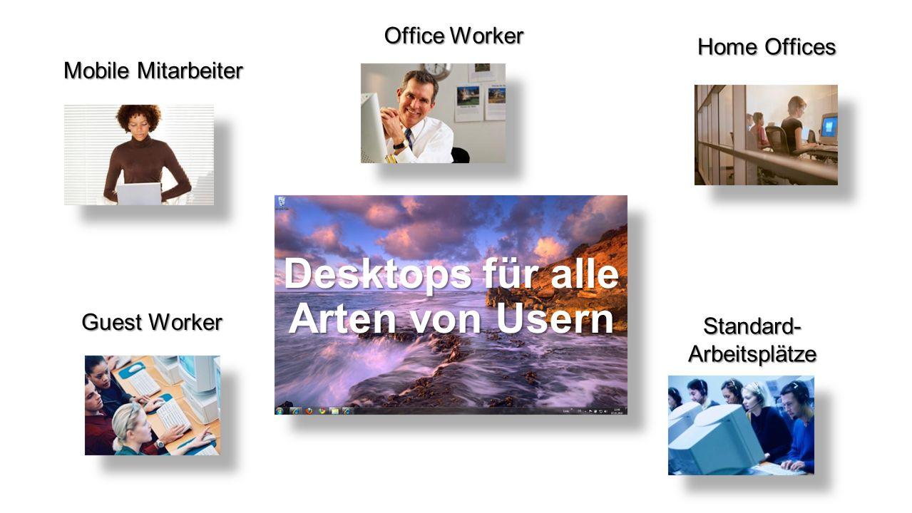 Mobile Mitarbeiter Standard- Arbeitsplätze Home Offices Office Worker Guest Worker Desktops für alle Arten von Usern