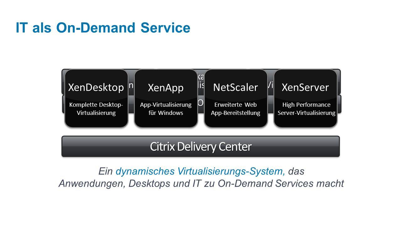 Desktop-VirtualisierungDesktop-VirtualisierungApplikations-VirtualisierungApplikations-VirtualisierungServer- Virtualisierung VirtualisierungServer- Netzwerk-OptimierungNetzwerk-Optimierung XenApp App-Virtualisierung für Windows NetScaler Erweiterte Web App-Bereitstellung XenServer High Performance Server-Virtualisierung XenDesktop Komplette Desktop- Virtualisierung Citrix Delivery Center Ein dynamisches Virtualisierungs-System, das Anwendungen, Desktops und IT zu On-Demand Services macht IT als On-Demand Service