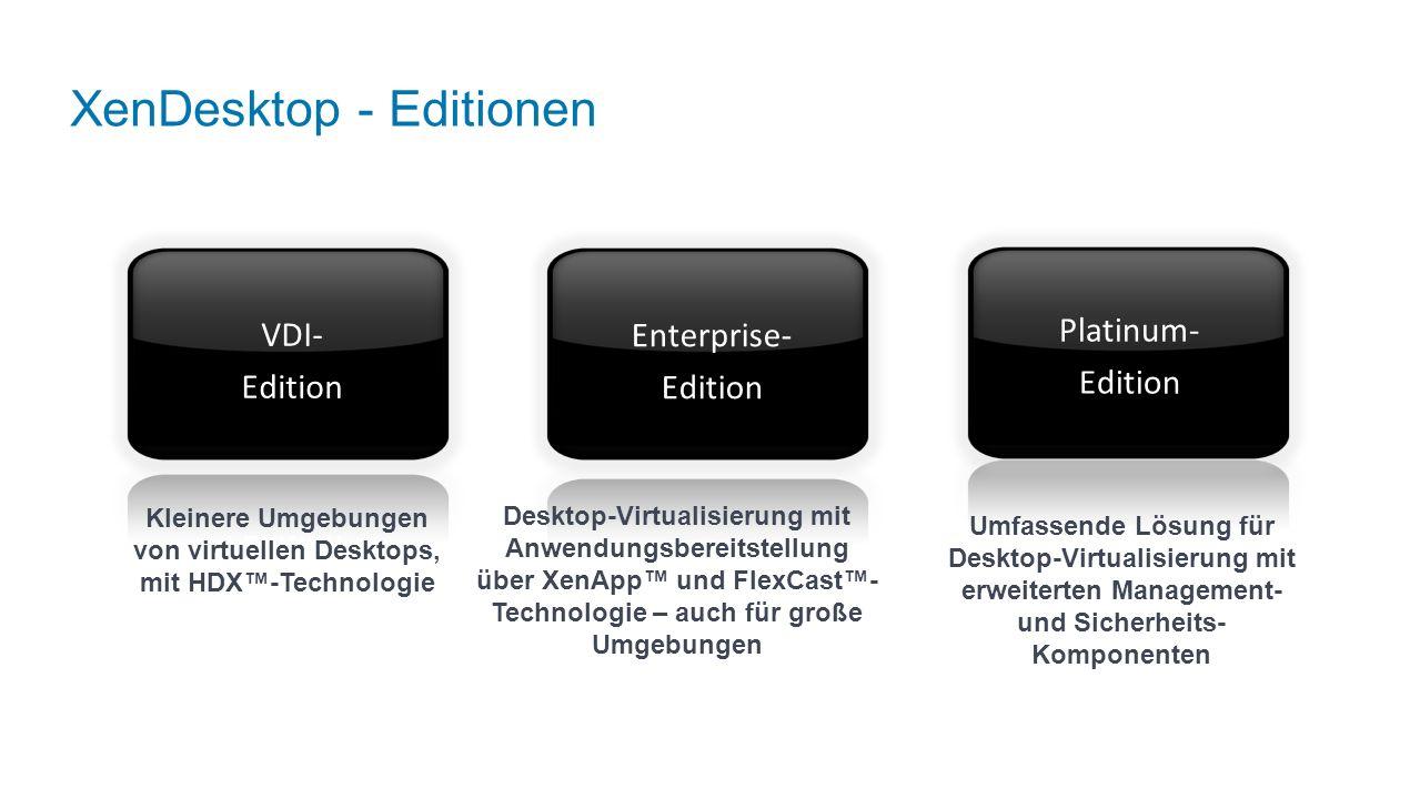 XenDesktop - Editionen Desktop-Virtualisierung mit Anwendungsbereitstellung über XenApp und FlexCast- Technologie – auch für große Umgebungen Umfassende Lösung für Desktop-Virtualisierung mit erweiterten Management- und Sicherheits- Komponenten Kleinere Umgebungen von virtuellen Desktops, mit HDX-Technologie