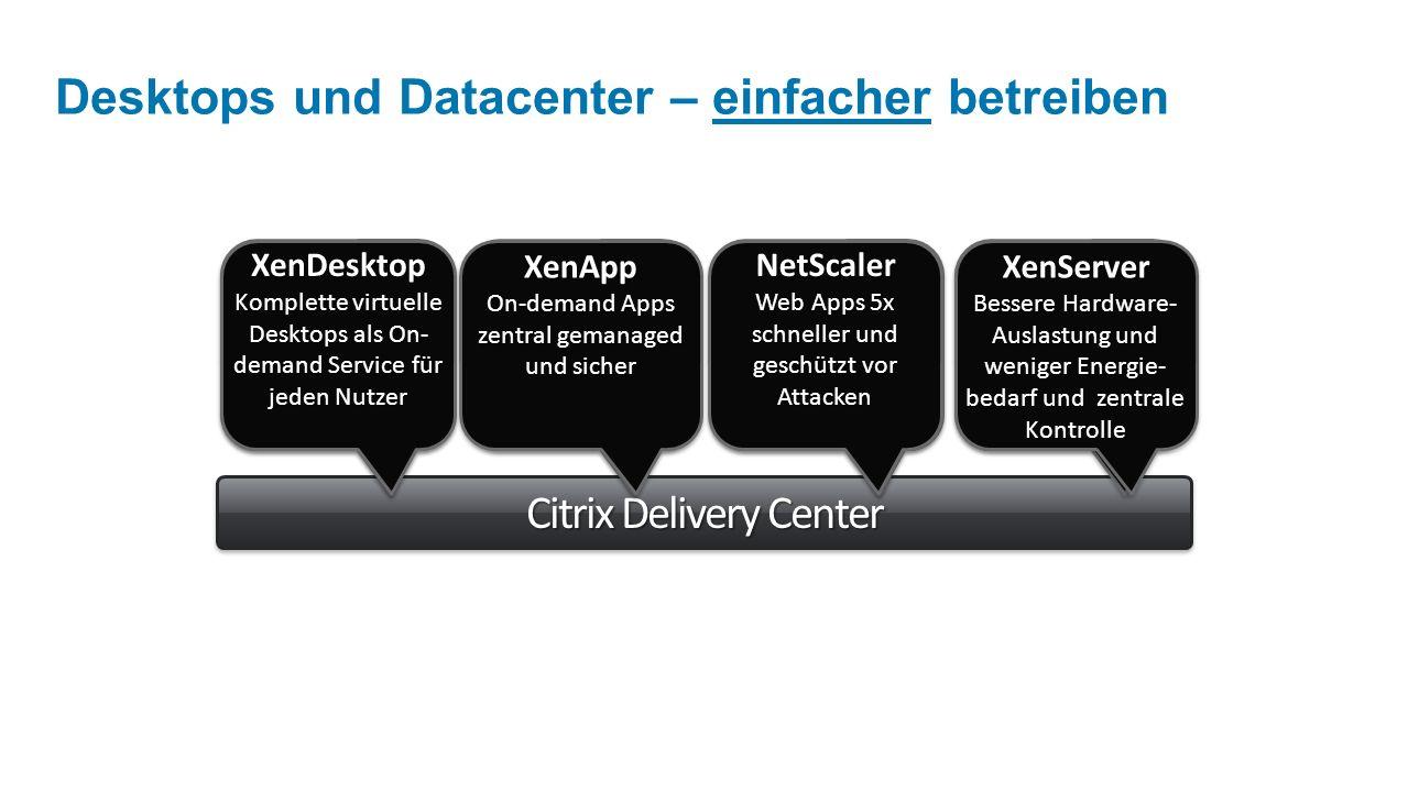 Citrix Delivery Center Desktops und Datacenter – einfacher betreiben XenDesktop Desktop- Virtualisierung TCO für Desktops 40% geringer XenDesktop Desktop- Virtualisierung TCO für Desktops 40% geringer NetScaler Bereitstellung von Web Apps 60% weniger Web App Server NetScaler Bereitstellung von Web Apps 60% weniger Web App Server XenServer Server- Virtualisierung konsolidiert Server 75%+ XenServer Server- Virtualisierung konsolidiert Server 75%+ XenApp Applikations- Virtualisierung TCO für Apps 50% TCO für Apps 50% günstigerXenApp Applikations- Virtualisierung TCO für Apps 50% TCO für Apps 50% günstiger NetScaler Web Apps 5x schneller und geschützt vor Attacken XenDesktop Komplette virtuelle Desktops als On- demand Service für jeden Nutzer XenApp On-demand Apps zentral gemanaged und sicher XenApp XenServer Bessere Hardware- Auslastung und weniger Energie- bedarf und zentrale Kontrolle