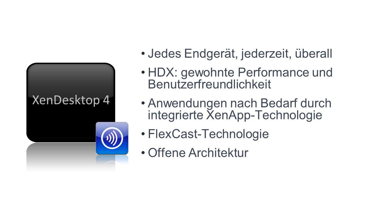 Jedes Endgerät, jederzeit, überall HDX: gewohnte Performance und Benutzerfreundlichkeit Anwendungen nach Bedarf durch integrierte XenApp-Technologie FlexCast-Technologie Offene Architektur