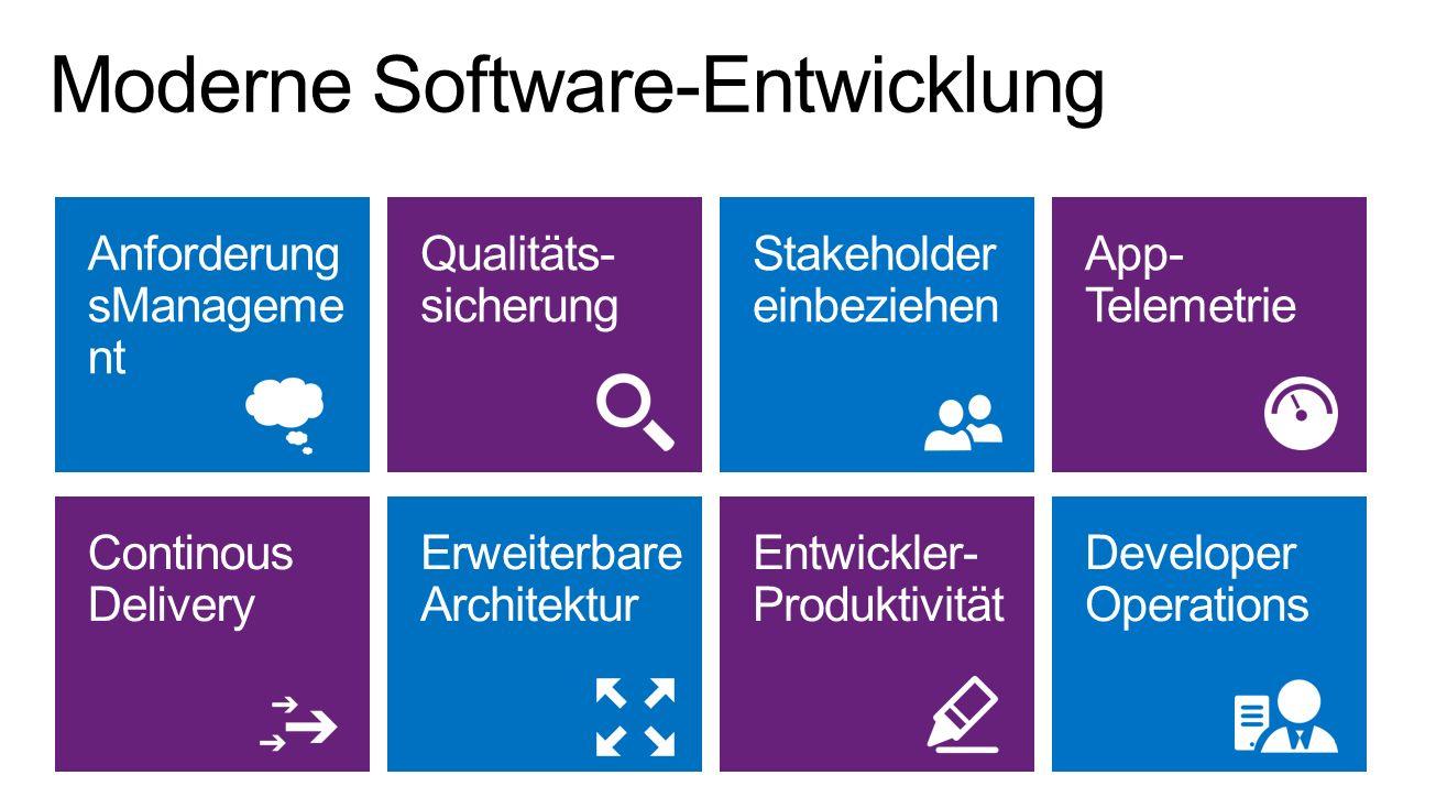 Anforderung sManageme nt Qualitäts- sicherung Stakeholder einbeziehen Continous Delivery Erweiterbare Architektur Entwickler- Produktivität App- Telem