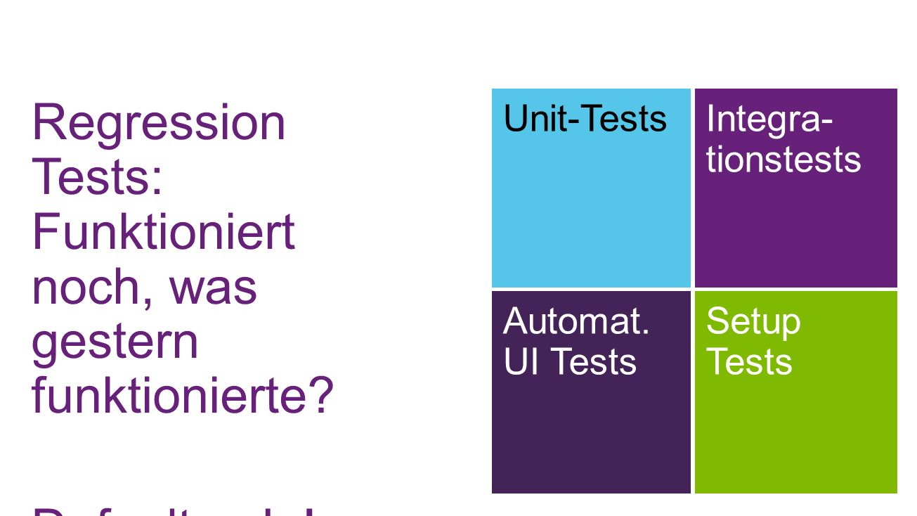 Regression Tests: Funktioniert noch, was gestern funktionierte? Default = Ja! Unit-TestsIntegra- tionstests Automat. UI Tests Setup Tests