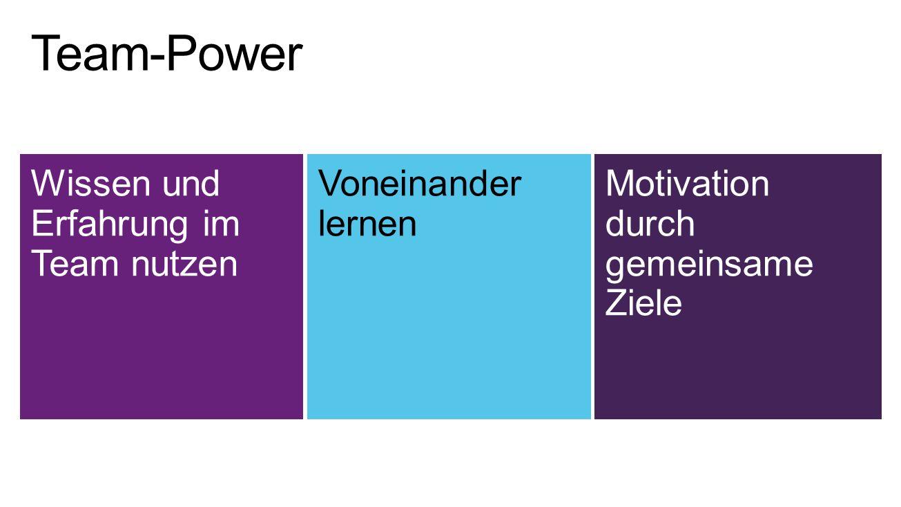 Wissen und Erfahrung im Team nutzen Voneinander lernen Motivation durch gemeinsame Ziele