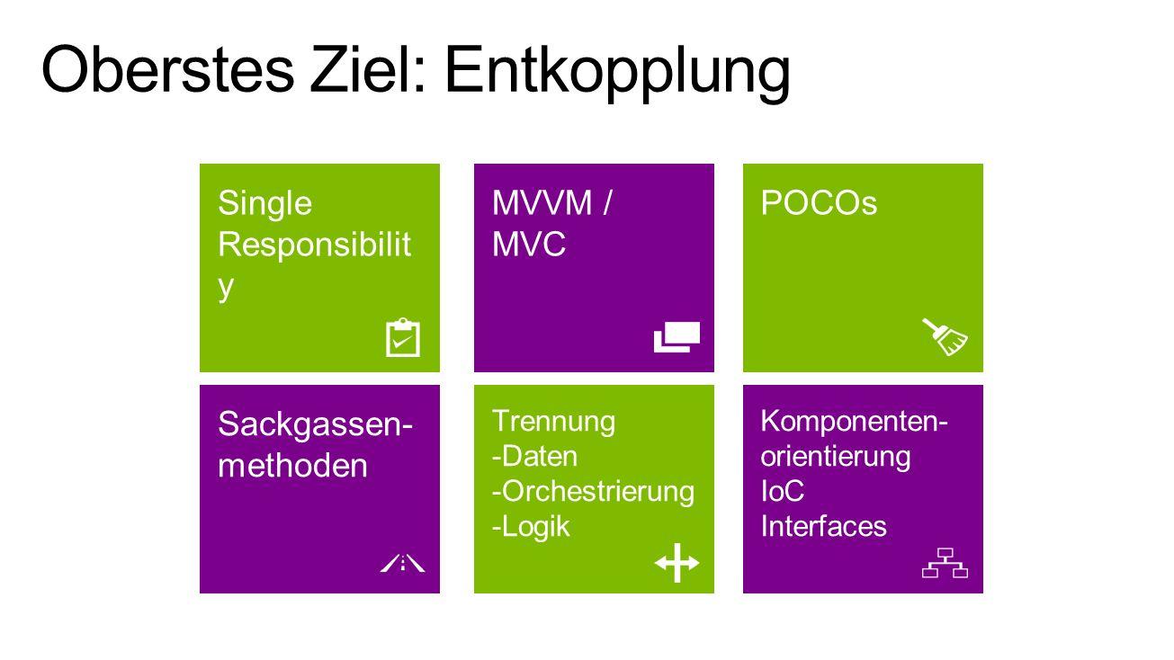 Trennung -Daten -Orchestrierung -Logik Sackgassen- methoden Komponenten- orientierung IoC Interfaces MVVM / MVC Single Responsibilit y POCOs