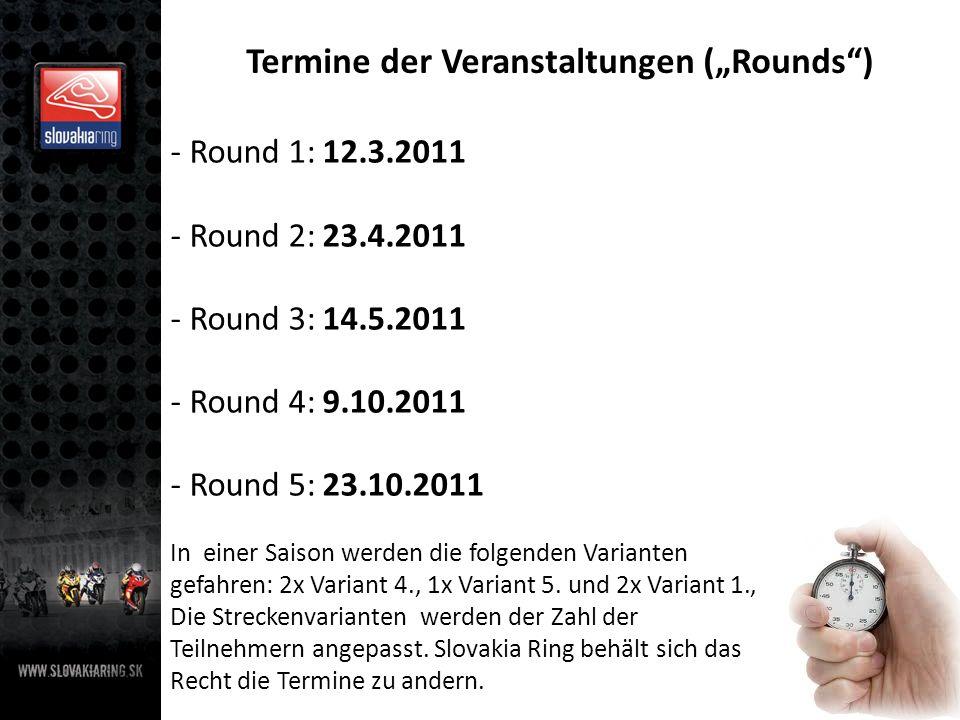 Termine der Veranstaltungen (Rounds) - Round 1: 12.3.2011 - Round 2: 23.4.2011 - Round 3: 14.5.2011 - Round 4: 9.10.2011 - Round 5: 23.10.2011 In einer Saison werden die folgenden Varianten gefahren: 2x Variant 4., 1x Variant 5.