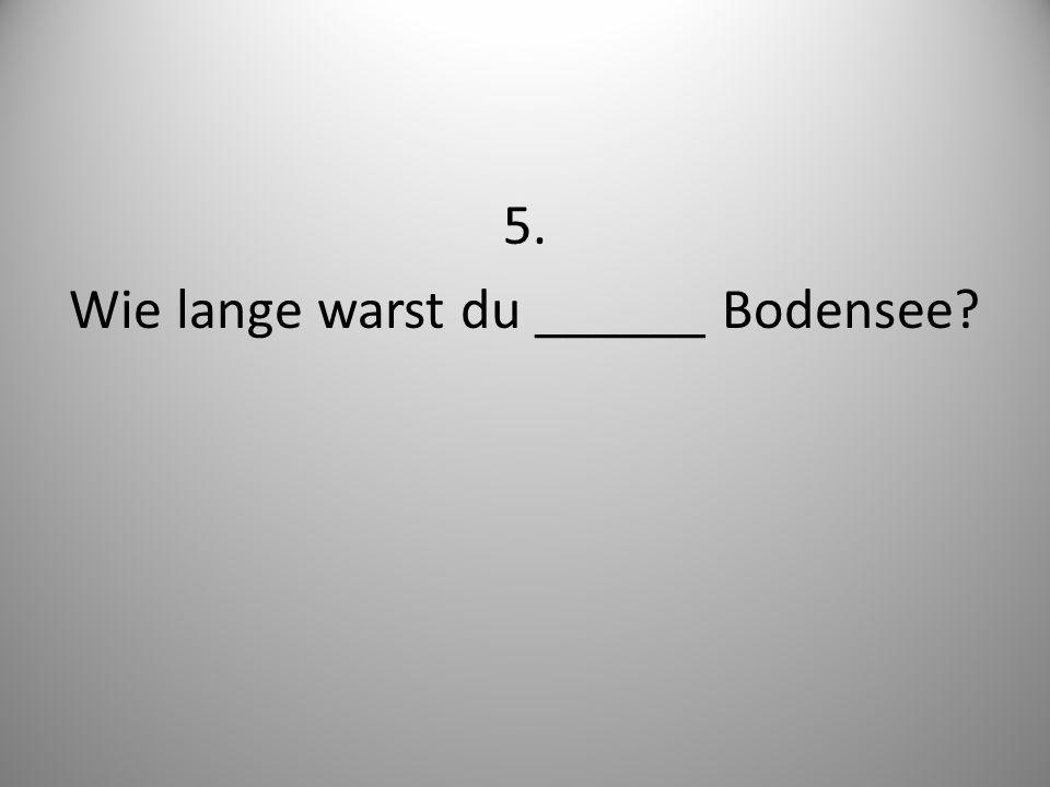 5. Wie lange warst du ______ Bodensee
