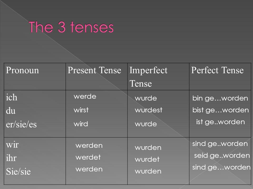 PronounPresent Tense Imperfect Tense Perfect Tense ich du er/sie/es wir ihr Sie/sie werde wirst werden werdet werden wird wurde wurden wurde wurdet wurden wurdest bin ge…worden sind ge…worden seid ge..worden sind ge..worden ist ge..worden bist ge…worden