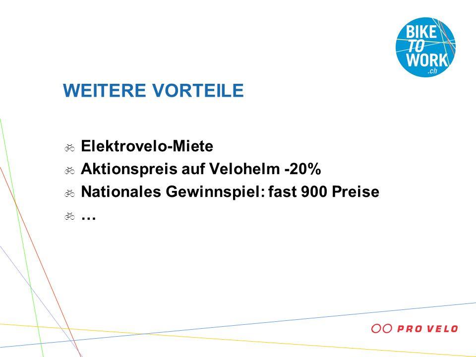 WEITERE VORTEILE Elektrovelo-Miete Aktionspreis auf Velohelm -20% Nationales Gewinnspiel: fast 900 Preise …