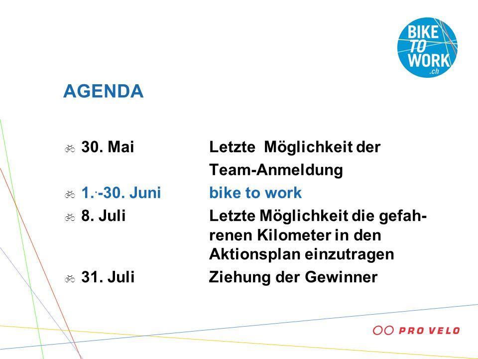 AGENDA 30. MaiLetzte Möglichkeit der Team-Anmeldung 1.. -30. Junibike to work 8. JuliLetzte Möglichkeit die gefah- renen Kilometer in den Aktionsplan