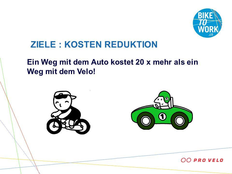 ZIELE : KOSTEN REDUKTION Ein Weg mit dem Auto kostet 20 x mehr als ein Weg mit dem Velo!