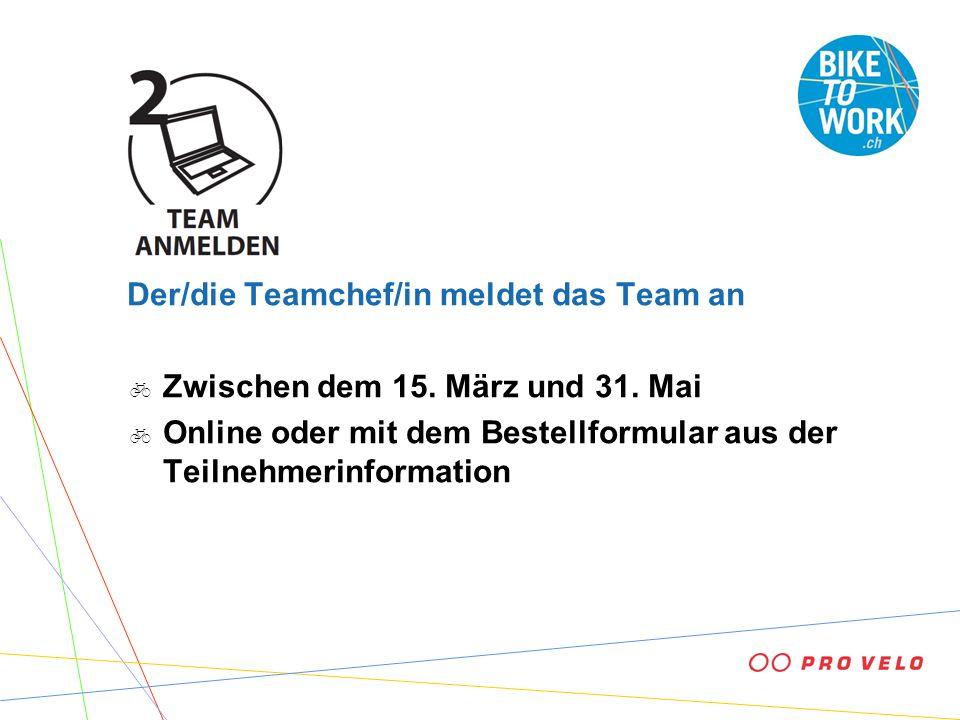 Der/die Teamchef/in meldet das Team an Zwischen dem 15. März und 31. Mai Online oder mit dem Bestellformular aus der Teilnehmerinformation