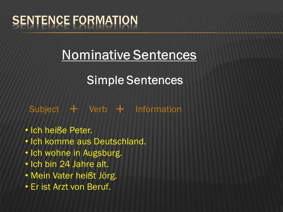 Nominative Sentences Simple Sentences SubjectVerbInformation + + Ich heiße Peter.