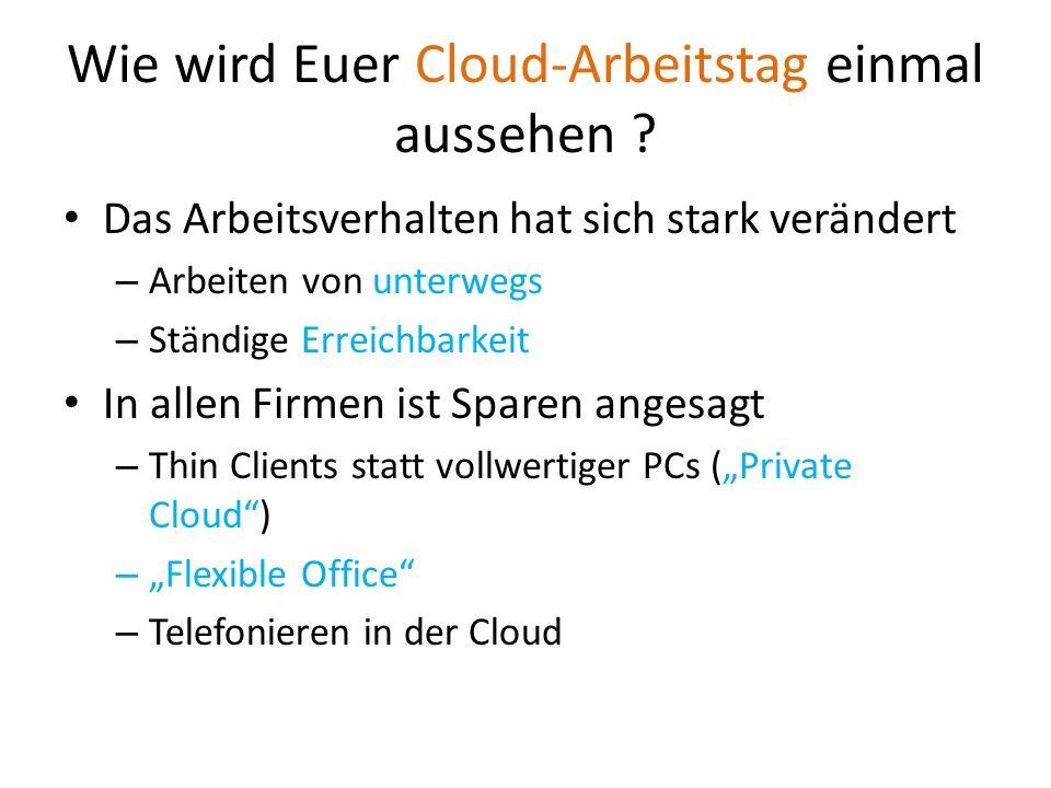 Wie wird Euer Cloud-Arbeitstag einmal aussehen ? Das Arbeitsverhalten hat sich stark verändert – Arbeiten von unterwegs – Ständige Erreichbarkeit In a