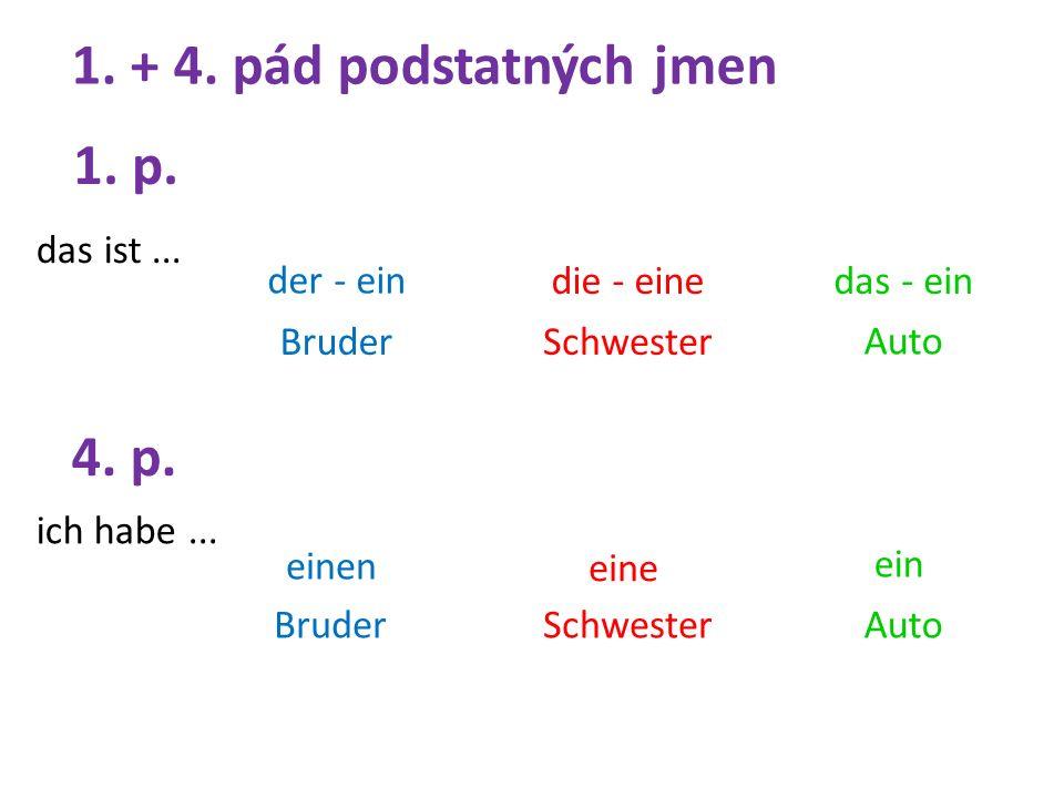 1. + 4. pád podstatných jmen der - ein ich habe...