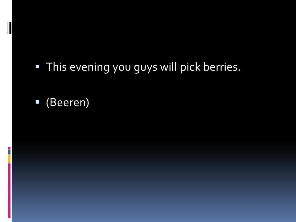 This evening you guys will pick berries. (Beeren)
